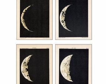 MOON PHASES set of 4  celestial astronomy prints - days 3 thru 6
