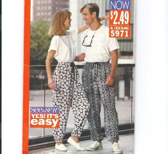 Butterick Unisex Pants Pattern 5971: Size XS to Medium, Uncut Vintage Sewing Pattern