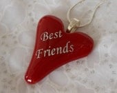 Best Friend Pendant Necklace, Fused Glass  Red Heart Pendant, Best Friend Heart Pendant Necklace