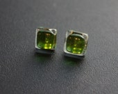 Recycled Green Wine Bottle (Glass-Fused) Post Earrings