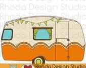 Vintage Camper Adventure Digital Clip Art Retro Camp Trailers