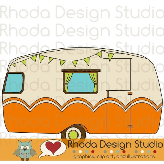 Vintage Camper Adventure Digital Clip Art Retro Camp Trailers From RhodaDesignStudio On Etsy Studio