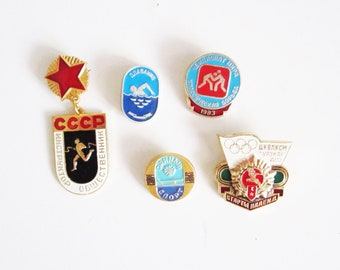 VINTAGE set of 5 sports PINS. Use in steampunk JEWELRY, mixed media art, assemblage, wear it.