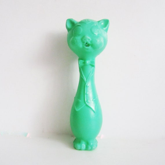 Cute  vintage plastic toy cat , his name is Behemoth. Use her for assemblage, mixed media or to keep company.