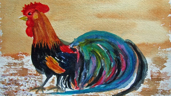 """Rooster  Original  5.5x7.5"""" Watercolor Bird Painting Art by ACEO Artist MaryI"""