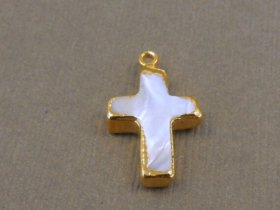 Pearl Cross Link -  Cross Pearl Connector -Pearl Coptic Charm - Edged with 24k Gold -available in silver too S3B9-06B