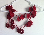 Autumn Red Flower Lariat Scarf,Fashion Flower Scarves,Necklace,crocheted scarves