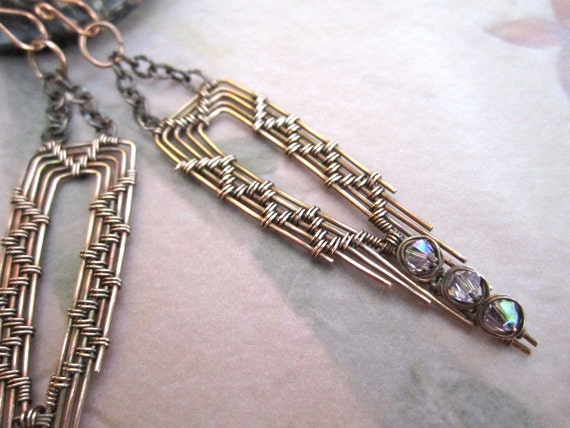 Indian Feather Wire Wrapped Copper Earrings