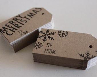 Christmas Gift Tags Wrap Labels Merry Christmas Snowflakes Kraft Brown Set of 50