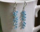 Swarovski Crystal Cluster Earrings - Aquamarine Crystal Birthstone Earrings