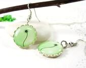 Floral Pattern- The Single Flower Green Earrings (263) - FREE WORLDWIDE SHIPPING