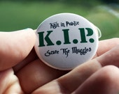 Pin Back Button K.I.P. Knit in Public Scare the Muggles Flair 1.5 inch