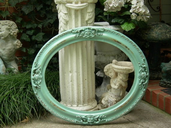 "OMG Antique Oval PICTURE FRAME Aqua Painted Holds 16"" X 20"" Ornate Medallions"