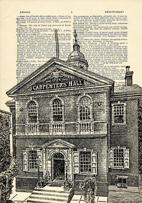 Carpenters' Hall Philadelphia Continental Congress Printed on Upcycled Vintage Dictionary Paper - 7.75x11