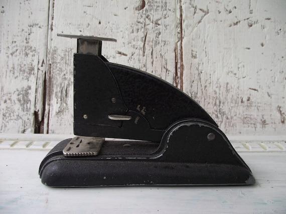 Metal Stapler black silver Art Deco Speedwell Industrial stapler vintage stapler