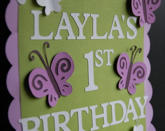 Butterfly Door Sign, Butterfly Welcome Sign, Butterfly Birthday Party, Butterfly Party Decorations, Welcome Sign, Purple, Green