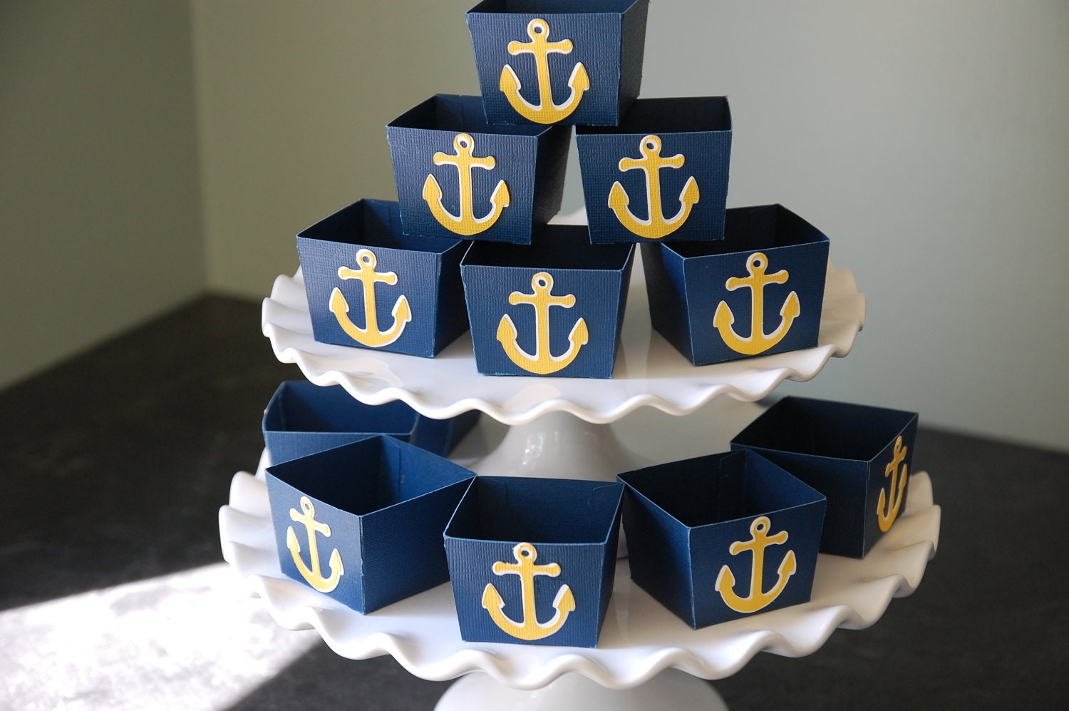 Anchor candy cups nautical party supplies nut cups nautical for Anchor decoration