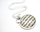 Sherlock Holmes Book Page Necklace 'Irene Adler' and 'Sherlock Holmes'