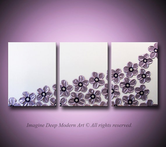 Purple Flower Painting Flowers Pearl White, Lavender, Light Purple - HUGE 54x24 High Quality Original Sculptural Impasto Modern Fine Art