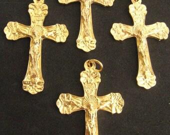 Gold Italian Made Rosary Crucifixes - set of 4