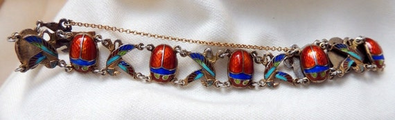 RESERVED FOR CHRIS Rare Gorgeous  Vintage Eqyptian Scarab and Horus Bird Enamel Gilded Bracelet 1950s