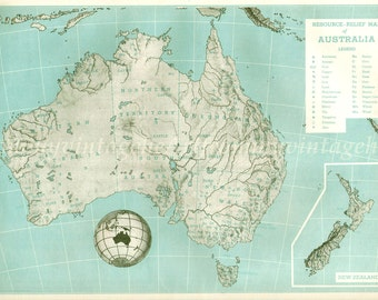 Aqua Blue map of 1940s Australia to frame