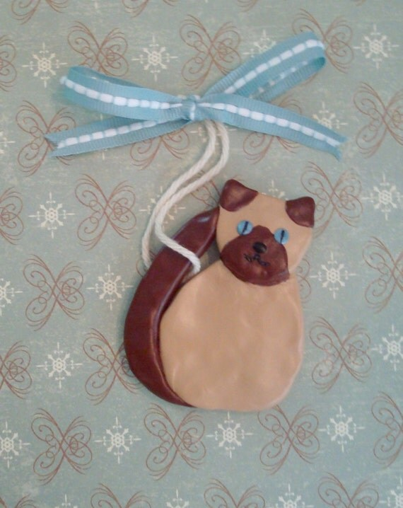 Polymer Clay Cat Ornament - Siamese Kitty for your Christmas Tree
