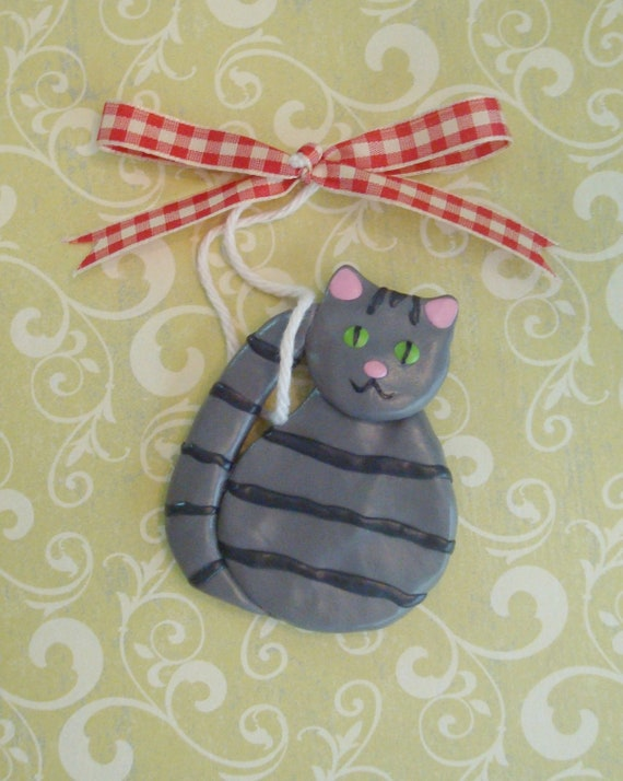 Polymer Clay Cat Ornament - Gray Tabby Kitty for your Christmas Tree
