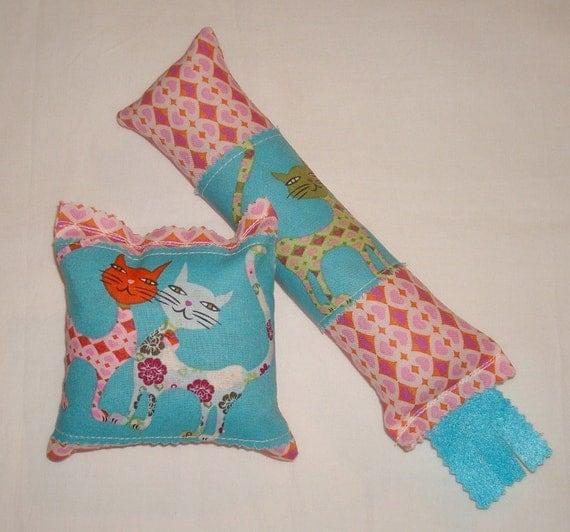 SALE Catnip Cat Toys - Kickstick & Pillow Set - Pink Heart Pattern with Aqua Blue Cats Fabric