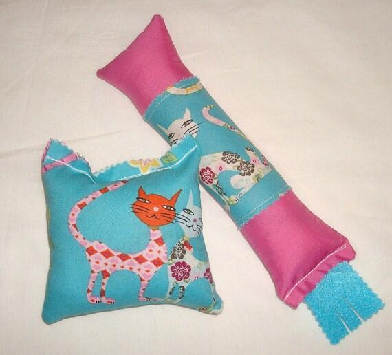 SALE Catnip Cat Toys - Kickstick & Pillow Set - Hot Pink with Aqua Blue Cats Fabric