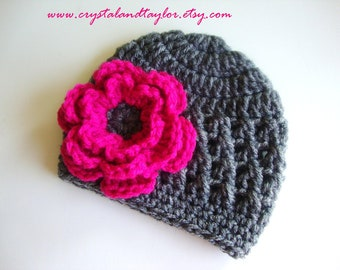 Baby Crochet Hat/Beanie with Flower in Gray and Hot Pink, Newborn, Toddler, and Girl Sizes Available
