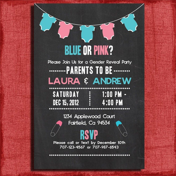 Printable Baby Gender Reveal Chalkboard Style 4x6 or 5x7