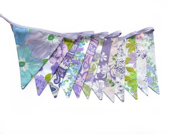 Vintage Bunting - Retro Pretty Purple Lilac Lavender Multi Floral Flags. HANDMADE . Birthday Parties, Garden Party, Kitchen Tea, Wedding