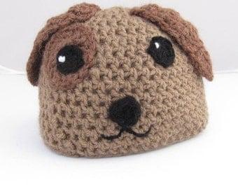 Baby Puppy Dog Hat,  Brown Dog Hat,  Crochet Baby Beanie, Crochet Dog Hat