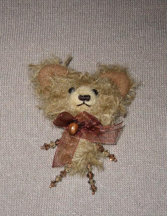 Bear brooch  Mohair bear brooch  Bear brooch with Swarovski crystals