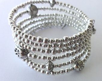Silver beaded memory wire bangle - one of a kind jewelry