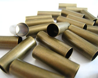 Metal Tube Beads - 10pcs Finding Antique Brass Straight Round Cylinder Beads Tubes 20mm x 7mm ( Inside 6mm Diameter )