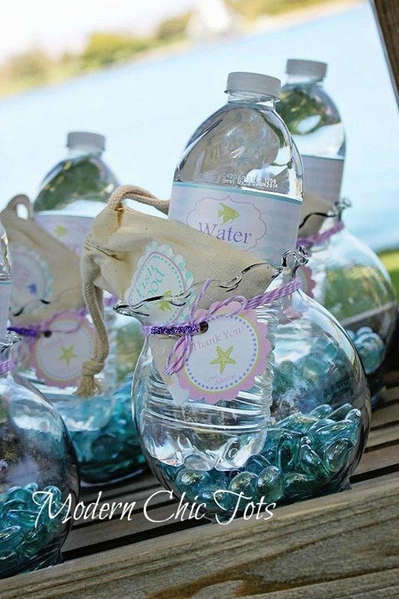 Mermaid Party Water Bottle Labels