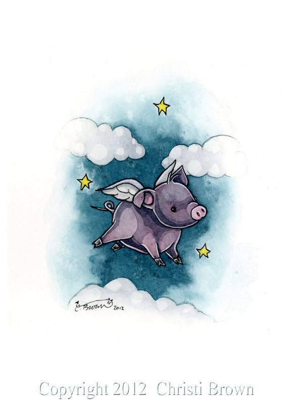Flying pig fairy cute winged piglet angel fine art print 5 x 7