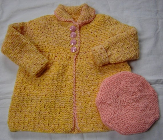 Baby  Toddler Girl Sweater Coat Hand Knit Crochet From Vintage Pattern Wool Size 2T