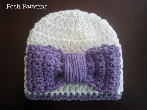 Crochet PATTERN - Hat and Bow Crochet Pattern - Crochet Hat Pattern - Crochet Patterns Kids - Baby, Toddler, Child, Adult Sizes - PDF 208