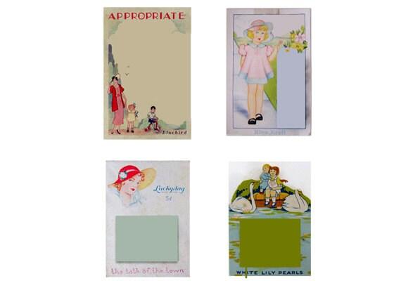 Vintage Button Cards, Digital, Instant Download PDF File, SET of Digital sewing cards, craft supplies, clip art, digital collage, diy