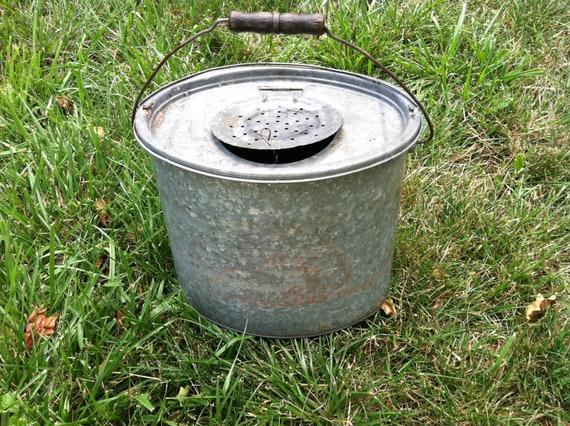 Vintage metal bait bucket pail by prairietreasure on etsy for Old metal buckets