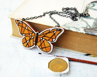 Big Butterfly  Necklace Animal  Necklace  Butterfly  Jewelry   Woodland