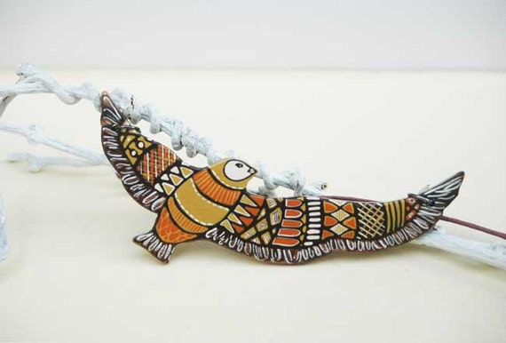 Art Pendant Hand Painted Bird Necklace on Wood Animal Necklace Jewelry Tribal Necklace