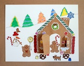 Christmas Craft Kit, Gingerbread House Paper Craft Kit for Kids, a Peekaboo House sticker collage kit for kids 5 & up