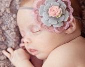 Gray and dusty pink headband, felt flower headband, vintage headband,  newborn headband, baby girl headband, baby headband, Infant headband