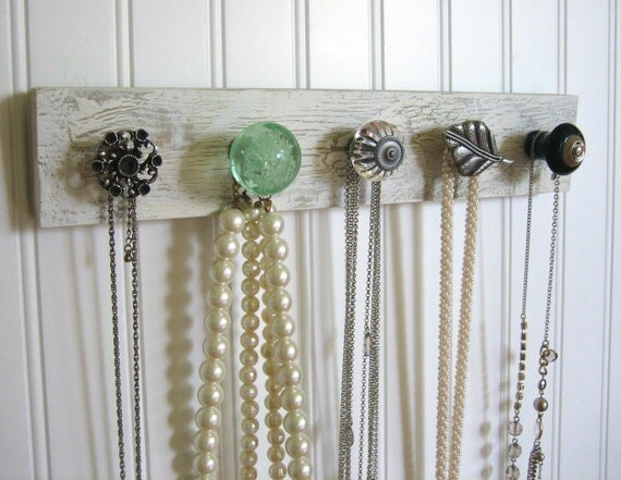Jewelry Storage Wall Organizer--Silver, Mint, and Teal