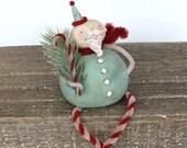 Santa Christmas Folk Art Roly Poly Santa Claus Decoration Shelf Sitter