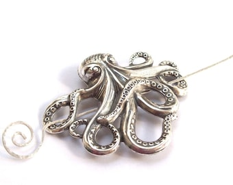 Octopus Shawl Pin, Silver Scarf Pin, Silver Shawl Pin, silver sweater pin, hair slide, silver filled, fall fashion, goth, ocean